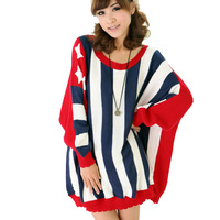 New Arrival 2013 Women O-Neck Awerican Flag Stripe Bat-wing Sleeve Pullover Knitted Sweater Plus Size Red Blue