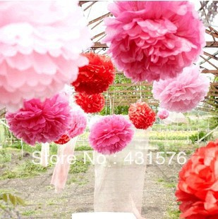 "Free Shippping 20pcs/Lot 6"" Tissue Paper Pom Poms Paper Silk Lotus Flower Sunflower Artificial Peony(China (Mainland))"