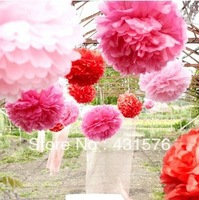 "Free Shippping 20pcs/Lot 6"" Tissue Paper Pom Poms Paper Silk Lotus Flower Sunflower Artificial Peony"