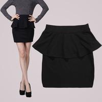 XL 2XL 3XL 4XL Women Plus Size Black Gray Ruffled Peplum Sheath Pencil Skirts Brand OL Elegant Career Office work Bodycon Skirts