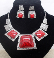 fashion brand red  wedding bridal unique jewelry sets party vintage fancy necklace and earring sets for women free shipping