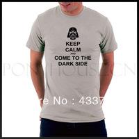 Keep calm dark side letter men t shirts / star wars mens short-sleeve  sport t shirt