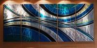 original art abstact painting oil painting home Decor #069 BLUE METAL WALL SCULPTURE african landscape art