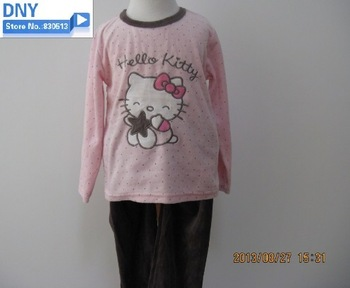 Free shipping new hello kitty  2013 autumn girl clothing pajama set   long sleeve  sleepwears nightgowns with  lovely embroidery