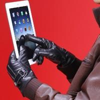 The New Genuine Leather Touch Screen Gloves Business Men iglove Gloves Winter Warm Outdoors Velvet Luvas For Men Free Shipping