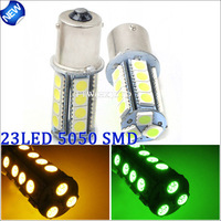 2PCS / LOT New 2013 Universal 23 SMD 5050 car LED Lamp reverse Turn Signal Light Bulb 2 colors for choose  Free Shipping