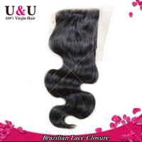 "Brazilian Lace Closure Swiss lace New Star hair products Brazilian Virgin Hair body wave 4""*3.5""  closure top closure"