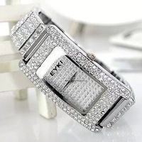 Famous Top Brand Luxury Fashion Square Rhinestone Female Fashion Table Clock Lady Diamond Decoration Watch Free Shipping