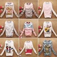 (Alice)free shipping 2014 Autumn new women hoodies,Good quality lovely cartoon wool fleece hoodie 98 models,