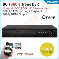 CCTV 8 channel Full 960H standalone DVR recorder hybrid DVR NVR system 3G WIFI DVR ONVIF for hikvision ip camera 3521chips