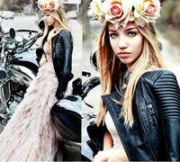 2014 women basic fashion Genuine Leather slim jacket quilted zipper stand collar Motorcycle biker streetwear outerwear  828