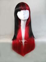 free shipping 75cm women harajuku lolita black red gradient anime wigs heat resistant cosplay