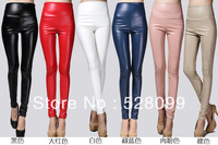 Free Shipping 2013 Newest Sexy Women Faux Leather Stretch High Waist Tights Juniors Pants Tights 4 size 20 Colors!Hot!!!