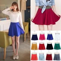 2014 Spring Summer Candy Color Pleated Skirt Elastic High Waist Ball Gown Mini Skirt Short Skirt Girls Skater Skirt