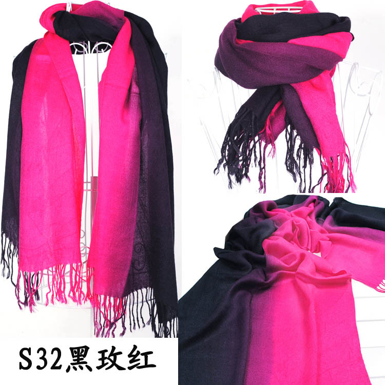 2013 Brand New Women's Fashion Long large Soft Shawl Stole Cashmere Scarf Gradient scarf wraps W4193(China (Mainland))
