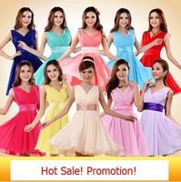 Free Shipping Chiffon Double Shoulders Short Dress V-neck Party Dress FS