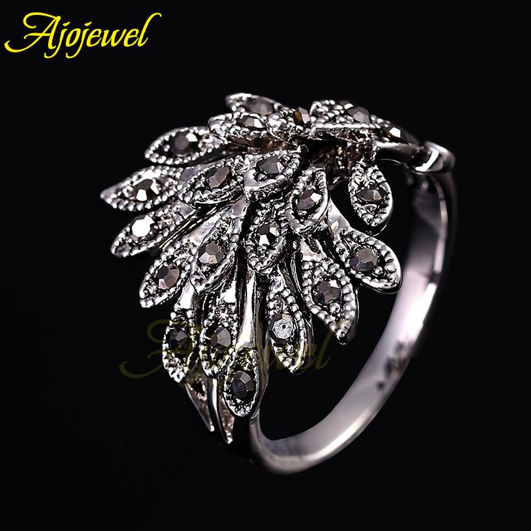 3pcs/Lot Elegant Animal Jewelry Black Rhinestones Phoenix Rings Fashion For Women(China (Mainland))