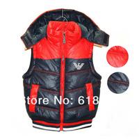 Retail 2014 new Winter boys hooded cotton vest children plus thick velvet the waistcoat kids' fashion vest Updated Quality!!!!