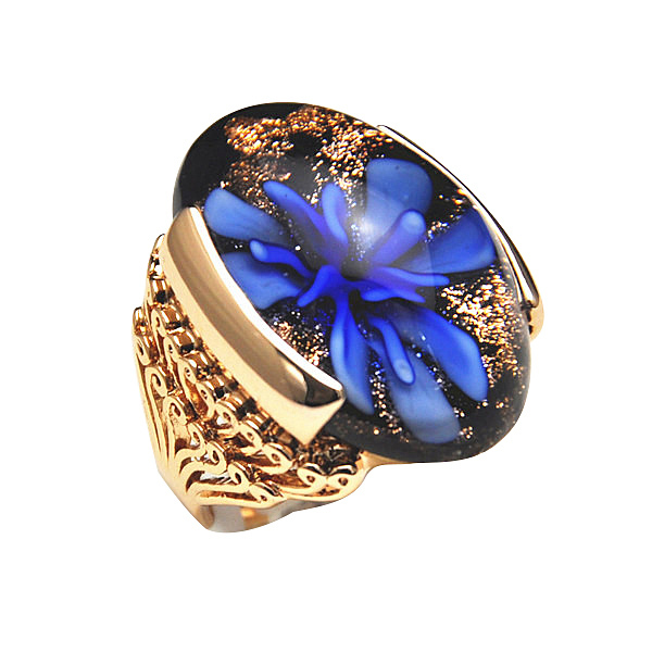 2014 Brand New High Quality Rose Gold Plated Blue Flower Glass Stone Big Rings For Women/Men(China (Mainland))