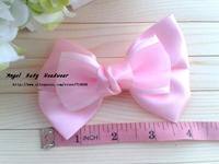 50pcs 8color Kid's Headwear 4.5inch Solid big Bowknot lace bowknot Handmade Hair Ribbon Hair Accessories