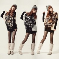 Free Shipping 3color New 2013 Fashion Tiger Print Batwing Sleeve Pullover Jumper Knitted Sweater Women