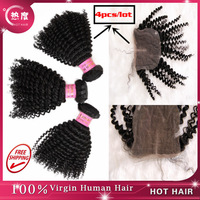 Free shipping mongolian kinky curly hair with closure,3pcs bundles add 1 pcs lace top closure,lace closure and bundles 4pcs /lot