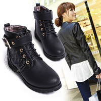 autumn and winter boots medium-leg front buckle strap punk martin shoes woman boots motorcycle boots size 35-39