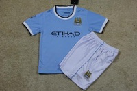 new Free Shipping high quality 2014 13 14 Manchester city home kids Soccer  Jersey  Soccer Shirt.
