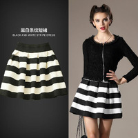 2013 Autumn And Winter New Fashion Classic Striped Elastic High Waist Knitted Casual Shorts Ball Gown Skirts For Womens Clothing