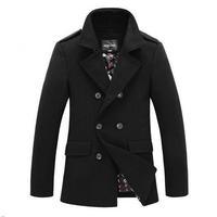 Winter Men Woolen Trench Coat Double Breasted 2014 New Hot Sale Mens Outdoors Jacket Brand Designed Casual Wool Coats Overcoat