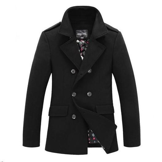Winter Men Woolen Trench Coat Double Breasted 2014 New Hot Sale Mens Outdoors Jacket Brand Designed Casual Wool Coats Overcoat(China (Mainland))