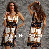 2013 summer new arrival fashion beach dress for women v neck boho clothing printed casual dresses
