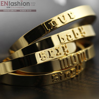 18KGP fashion words MOM SINGLE BABY LOVE SEXY cuff bracelet women bangles stainless steel jewelry wholesale free shipping