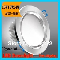 FEDEX Free Shipping 15w 18w 24w recessed led downlight,AC85-265V,CE&ROHS, white/Warm light,10pcs/lot,indoor lighting