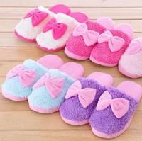 Free shipping winter fleece warming slipper, homing slipper, indoor shoes, bow slipper,  free shipping