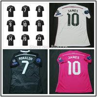 Real Madrid Third Shirt 14 15 4 SERGIO RAMOS 8 KROOS 7 RONALDO 10 JAMES 11 BALE White Pink Black Champions League soccer jersey
