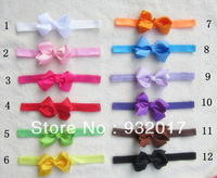 Free Shipping 12Colors elastic headband with chunky bow
