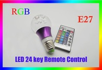 RGB 3W E27 Crystal LED bulb, passed ROHS and CCC LED stage light 16 colors with 24-key remote contro --wai