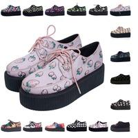 Women's Strawberry Creepers Flats Platform Shoes Spring And Autumn New Fashion Harajuku Print Flat Platform Lacing Punk Shoes