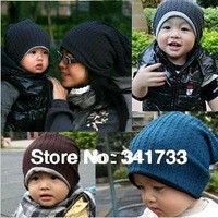 2 pcs/lot knit beanie winter cap women & baby hat,2 size hat for 1-3 years old baby & woman winter hat,gorros,kids bonnet,CTW
