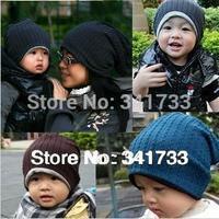 2 pcs/lot knit beanie winter cap women & baby hat,2 size hat for 1-3 years old baby & woman winter hat,gorros,kids bonnet,CTW