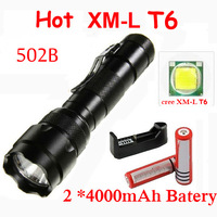 Free Shipping WF 502B 5 Modes Cree XM-LT6 1600 Lumens Tactical LED XML Flashlights Torch (2*18650+ Charger , Adapter)