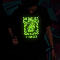 National Trend Wholesale Free shipping summer Short-sleeved Punk Nightclubs glow T-shirts of Metallica band t shirt for men