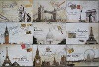 E124 5 Sets 90 Pcs/lot 18 Designs Vintage Europe Style Postmark Postcards World Famous Building Postal Greeting Cards 142mmx95mm