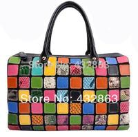 Bag Cowhide Patchwork Handbag 100% Genuine Cowhide Leather Handbags New Fashion Tote Genuine Leather Handbag Shoulder B-007