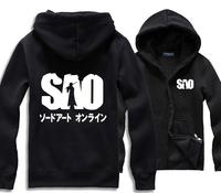 Free Shipping SAO Zip Up Hoodies Jackets Coats Sword Art Online Hooded Kirito Cosplay Sweatshirts Kirigaya Kazuto Autumn Winter