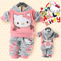 RETAIL baby 2piece suit set tracksuits Girl's Hello Kitty clothing sets velvet Sport suits hoody jackets +pants freeshipping 040
