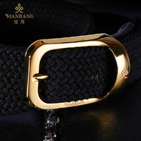 Brand 2015 New  Silk Fibers Weave man belt  Designer Gold/silver buckle High Quality Knit  Male Strap Free Shiping 56J04