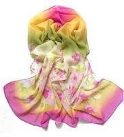 2014 HOT Fashion Color Flower Print scarf ladies scarf women chiffon scarves 7 colors