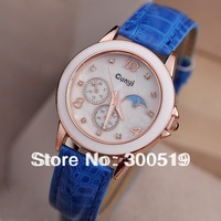 JW322 New Style Women Golden Case Lady Leather Strap Quartz WristWatch Branded Dress Watch 7 Strap Colors Watch